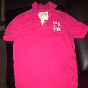 Hot pink Hollister polo shirt